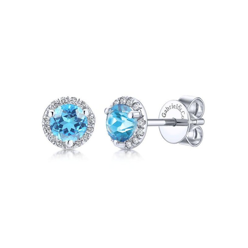 Gabriel Fashion 14K White Gold Round Cut Diamond Halo & Swiss Blue Topaz Stud Earrings