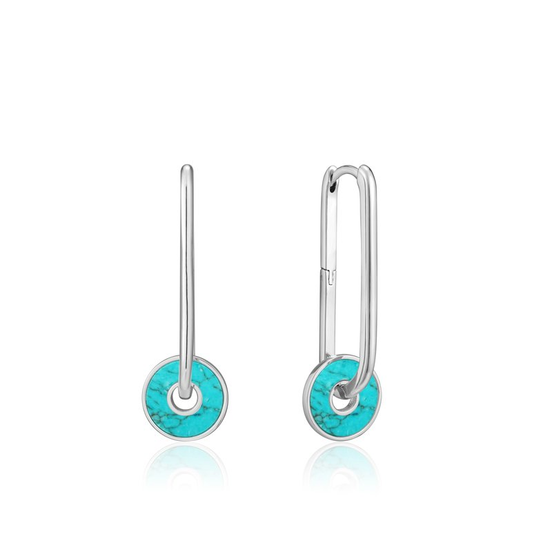 Ania Haie TURQUOISE DISC HOOP EARRINGS