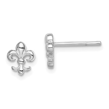 Sterling Silver Rhodium Plated Fleur de lis Post Earrings