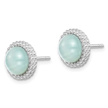 Sterling Silver Rhodium-plated Created Blue Cat's Eye Post Earrings