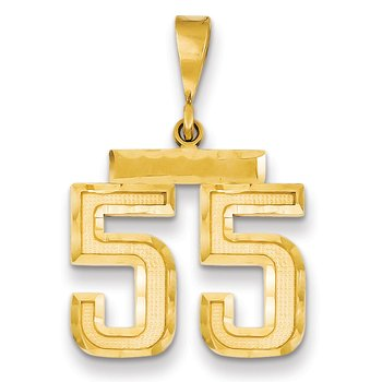 14k Medium Diamond-cut Number 55 Charm