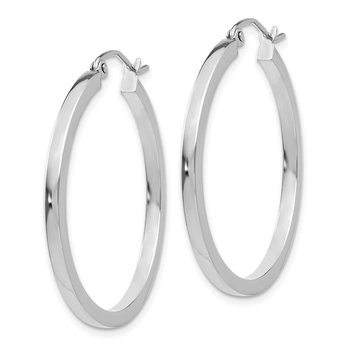 14k White Gold 2mm Square Tube Hoops