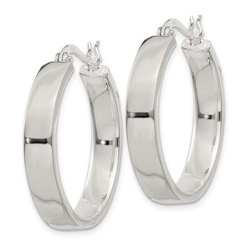 Sterling Silver 5x27mm Hoop Earrings