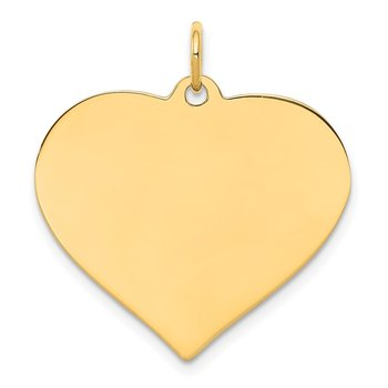 14k Plain .013 Gauge Engravable Heart Disc Charm