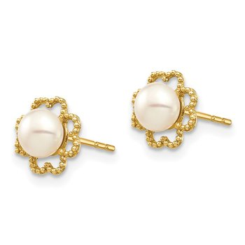 14k Madi K 4-5mm White Button FW Cultured Pearl Milgrain Post Earrings