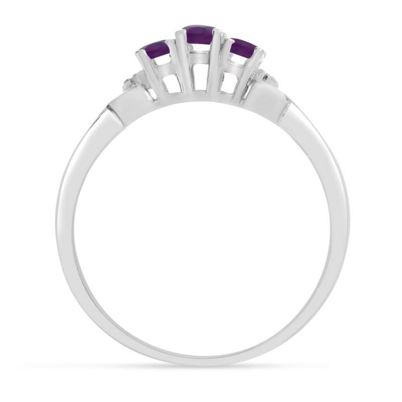 Color Merchants 10k White Gold Oval Amethyst And Diamond Three Stone Ring
