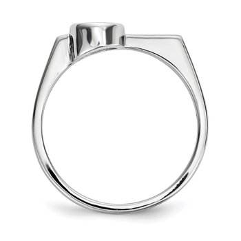 Sterling Silver Rhodium-plated Round CZ Ring