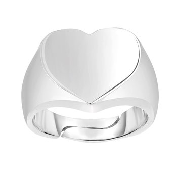 Silver Polished Heart Signet Ring