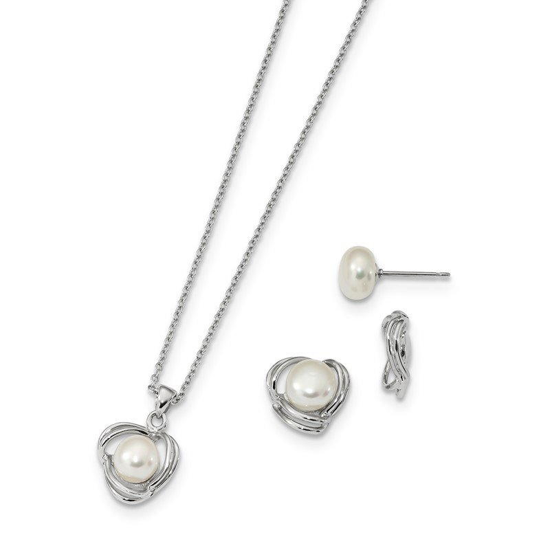 Quality Gold Sterling Silver RH6-7mm FWC Pearl CZ Earring Jacket/Necklace Set