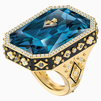 Tarot Magic Cocktail Ring, Blue, Gold-tone plated