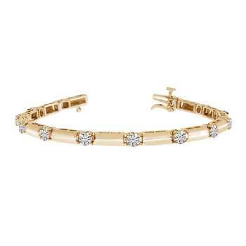 14k Yellow Gold 3Ct. Diamond Bar Bracelet