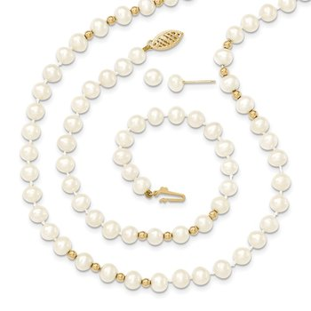 14k 6-7mm White FW Cultured Pearl 18in. Necklace 7.25 Bracelet Earring Set