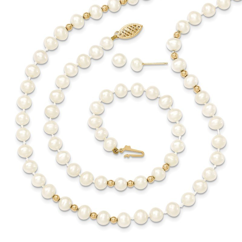 Quality Gold 14k 6-7mm White FW Cultured Pearl 18in. Necklace 7.25 Bracelet Earring Set