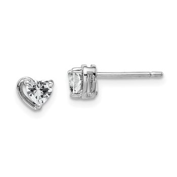 Sterling Silver Rhod-plated White Topaz Heart Post Earrings