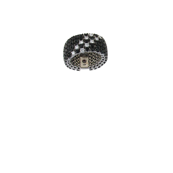 18Kt Gold Black Sapphire And White Diamond Flex Ring