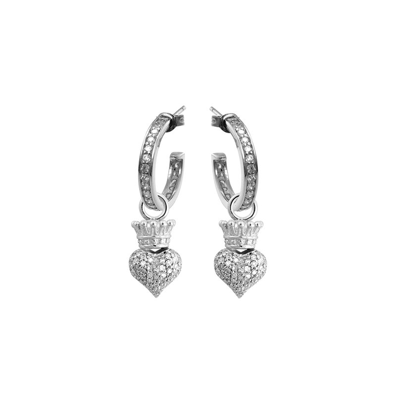 King Baby Small Hoops With Crowned Heart Drop - Silver And White Cz Pave
