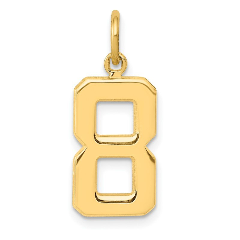 Quality Gold 14ky Casted Medium Polished Number 8 Charm