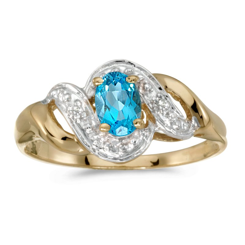 Color Merchants 10k Yellow Gold Oval Blue Topaz And Diamond Swirl Ring