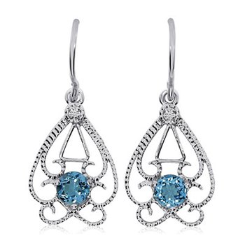 14k White Gold Round  Open Filigree Blue Topaz And Diamond Earring