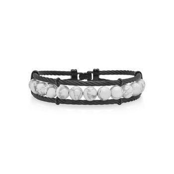 Large Black Cable & Howlite Bracelet