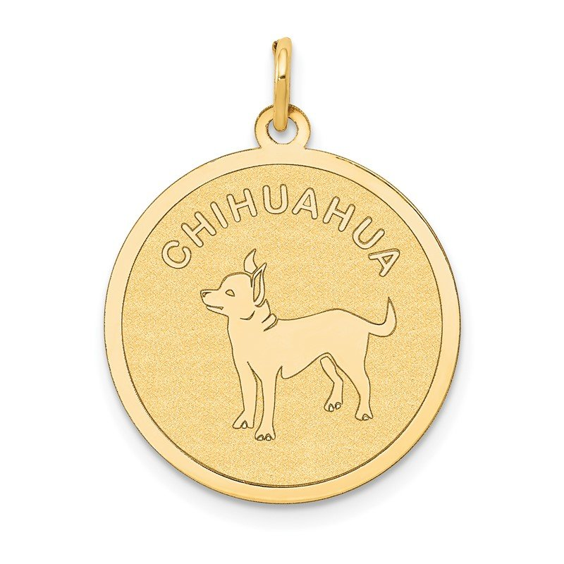 Quality Gold 14k Chihuahua Disc Charm