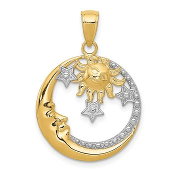 14k and Rhodium D/C Moon, Stars, and Sun Pendant