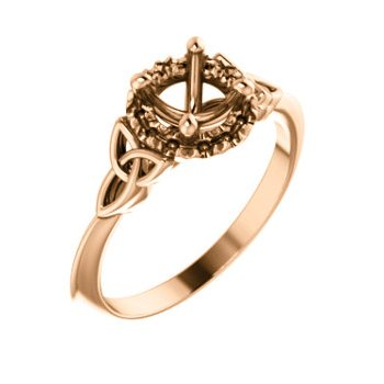 18K Rose 5.8 mm Round Celtic-Inspired Engagement Ring Mounting