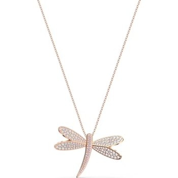 Eternal Flower Necklace, White, Rose-gold tone plated
