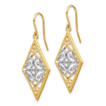 14K & Rhodium Diamond Shape Filigree Dangle Earrings