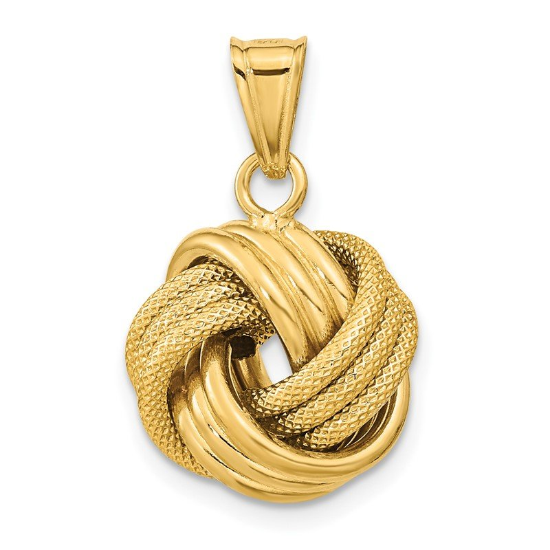 Quality Gold 14k Polished Textured Love Knot Pendant