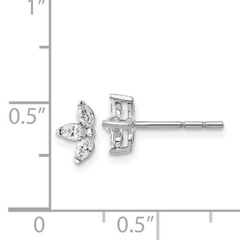 14k White Gold 3-stone Marquise Diamond Earrings