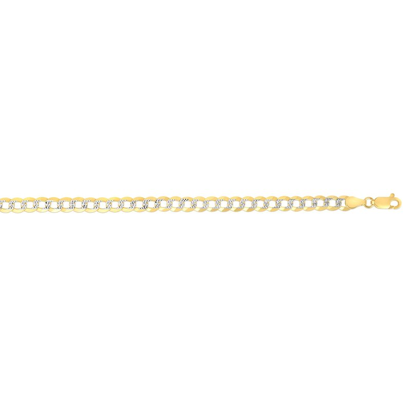 Royal Chain 14K Gold 4.6mm White Pave Curb Chain