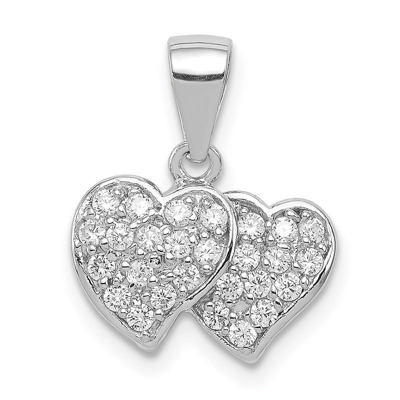Quality Gold Sterling Silver CZ Small Double Hearts Pendant
