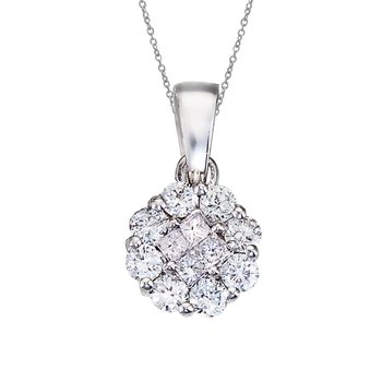 14K White Gold Diamond Clustaire Pendant (.33 carat)