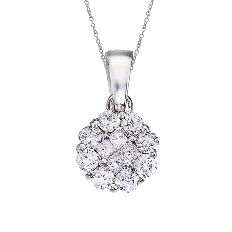 Color Merchants 14K White Gold Diamond Clustaire Pendant (.33 carat)