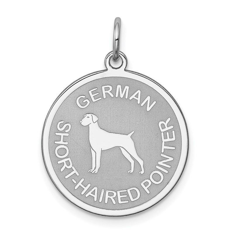 Quality Gold Sterling Silver Rhodium-plated German Shorthaired Pointer Disc Charm