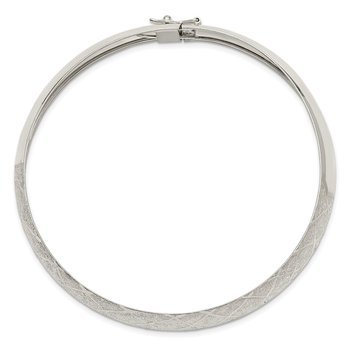 Sterling Silver 10mm Polished D/C Textured Bangle
