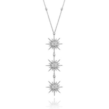 Triple Sunburst Necklace 18KW