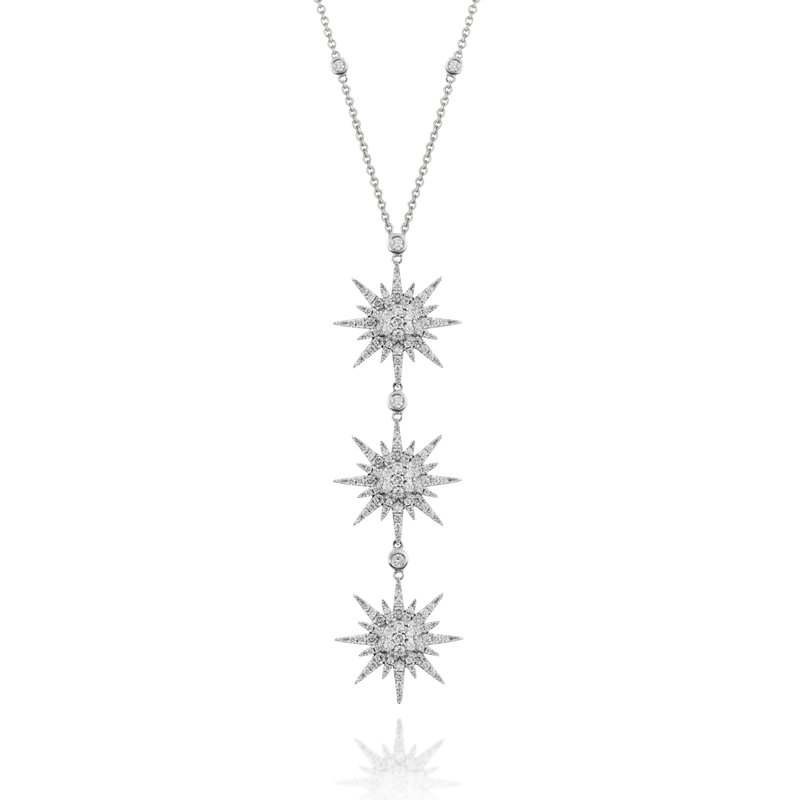Doves Triple Sunburst Necklace 18KW