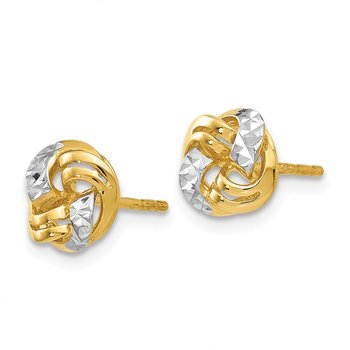 Leslie's 14K w/White Rhodium Polished & D/C Post Earrings
