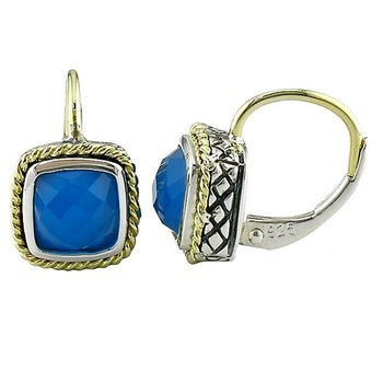 18kt and Sterling Silver Cushion Blue Agate Euro Wire Earrings