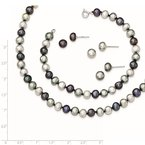 Quality Gold Sterling Silver Rhodium FWC Pearl Necklace/7.25 Brace/3pc Earring Set