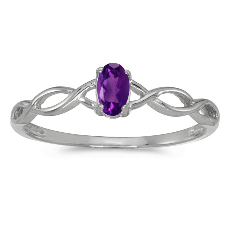 Color Merchants 10k White Gold Oval Amethyst Ring
