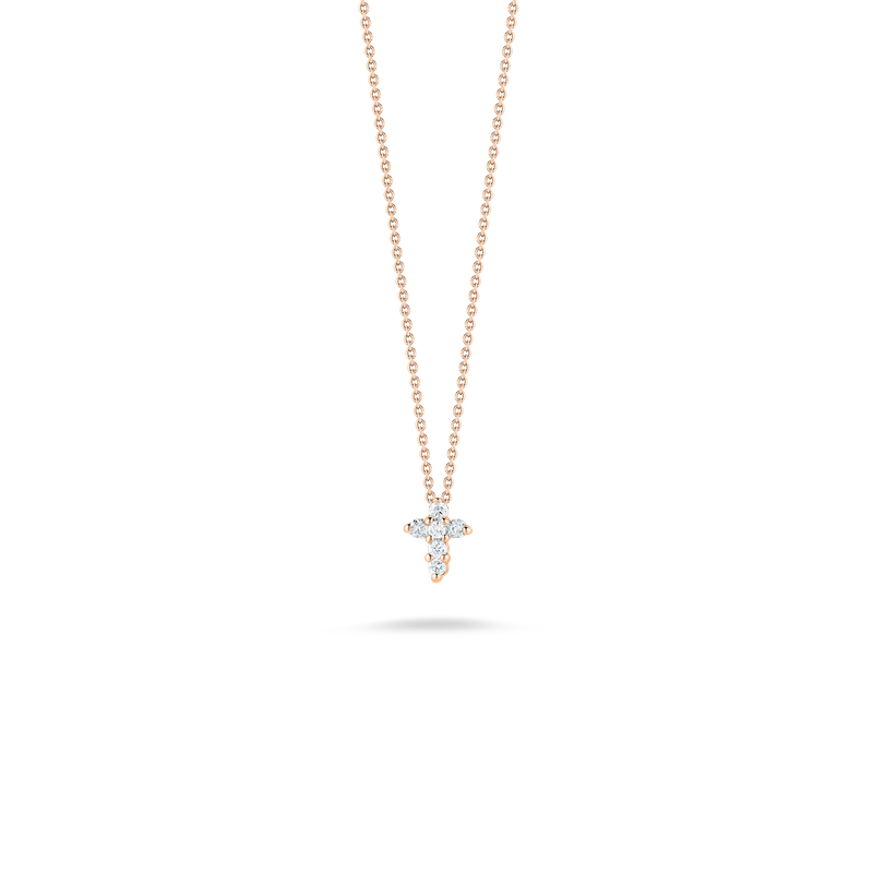 Roberto Coin Baby Cross Pendant With Diamonds &Ndash; 18K Rose Gold