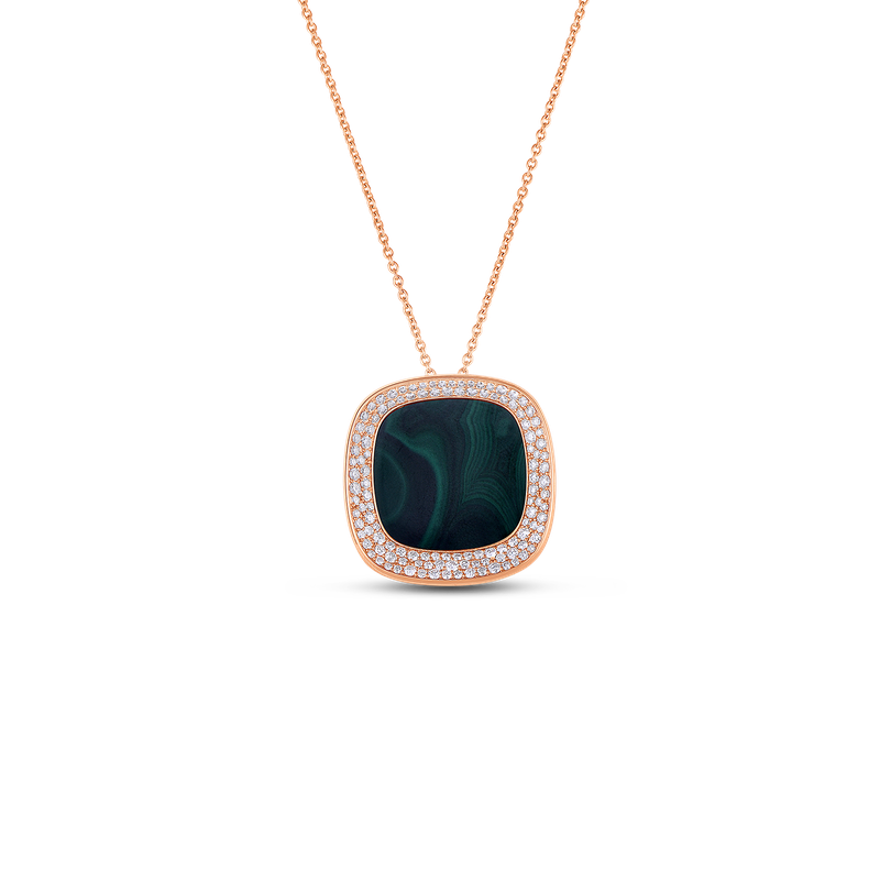 Roberto Coin 18Kt Gold Necklace With Diamonds And Malachite
