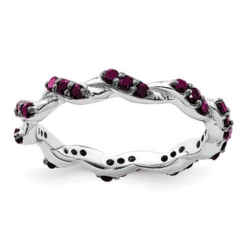 Sterling Silver Rhodium-plated Rhodolite Garnet Twisted Eternity Ring