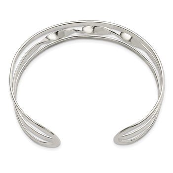 Sterling Silver Polished Twisted Center Cuff Bangle