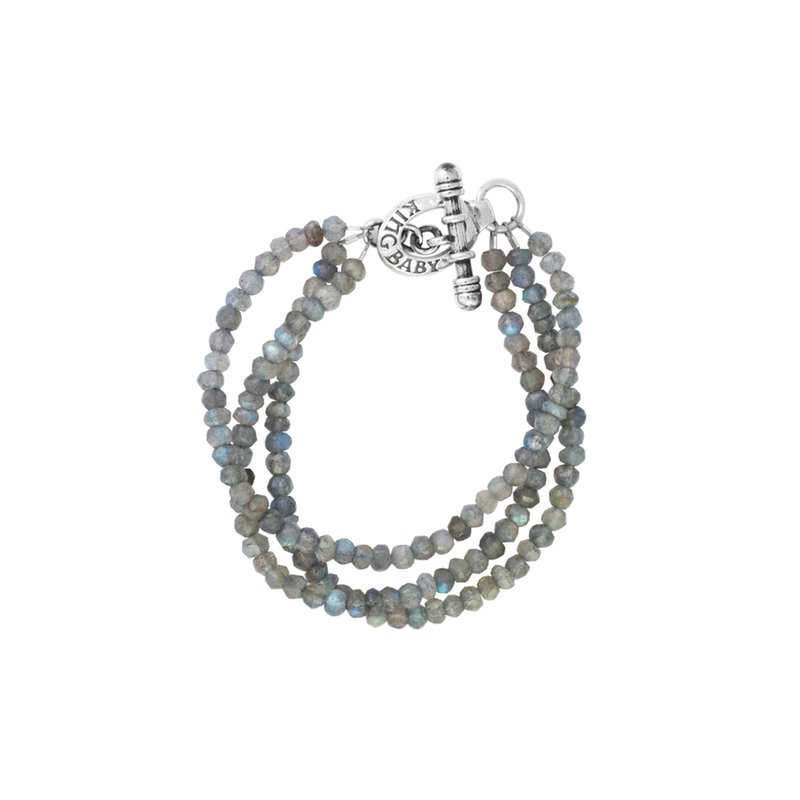 King Baby Three Strand Labradorite Bead Bracelet With Minin Toggle Clasp