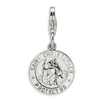 Sterling Silver Amore La Vita Rhodium-pl St. Christopher Medal Charm