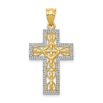 14k w/White Rhodium Polished Filigree Cross Pendant